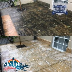Patio cleaning in Gloucester before and aftre pictures using SoftWash and DOFF steam cleaning a stone heratige product (1)