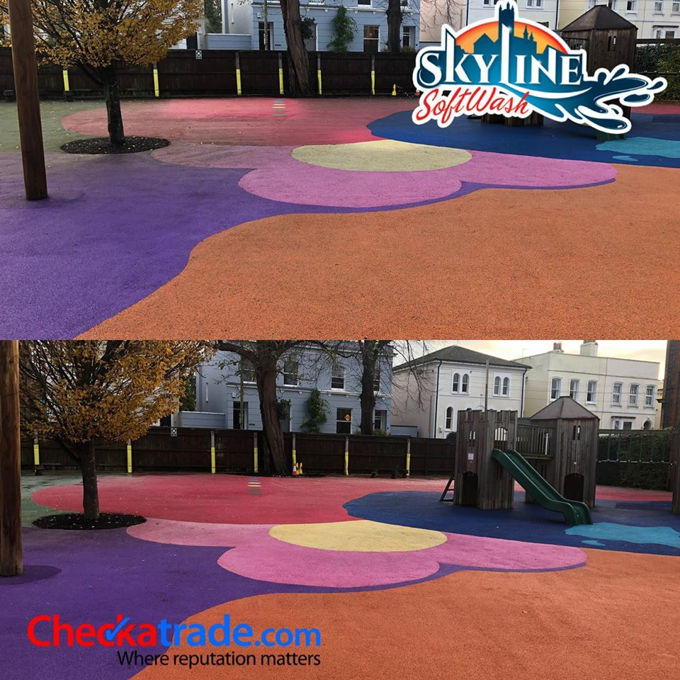 Before and after Picture of wet pour playground using SoftWash Treatment