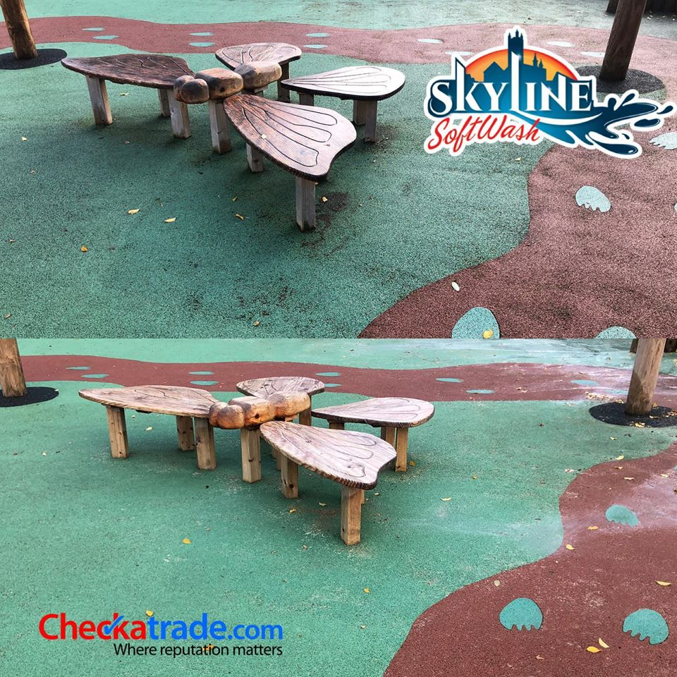 SoftWash Treatment of Wet Pour Playground in Cheltenham