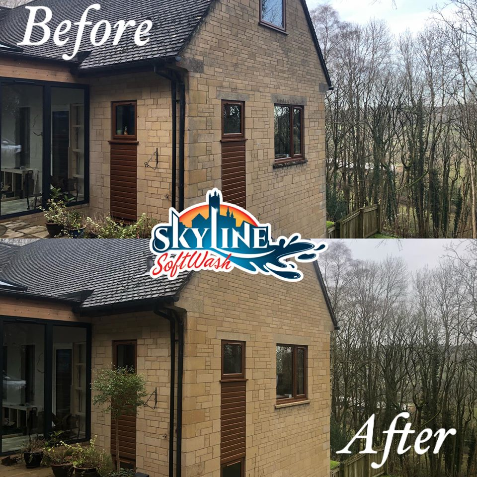 Bradstone Wall cleaning in Painswick, Gloucestershire