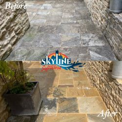 Patio Black Spot Removal treatment in Horsley Stroud