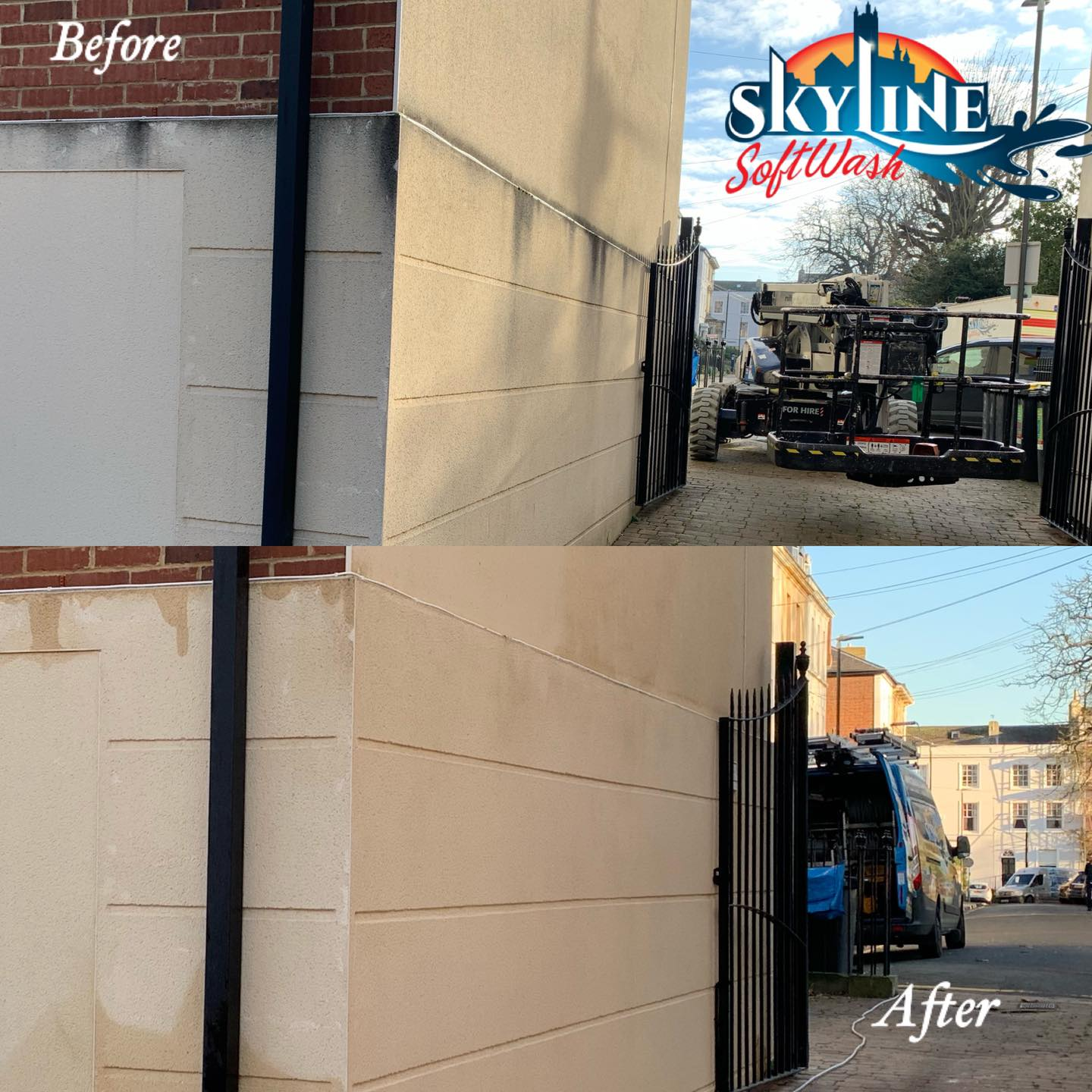 Before and after render cleaning in Brunswick Square, Gloucester
